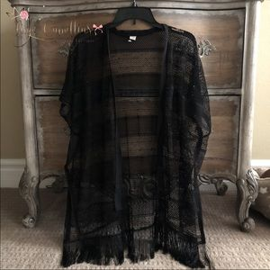 Black Kimono Wrap Shawl
